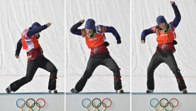 SOCHI, Russia - A three-photo series shows Eva Samkova of the Czech Republic dancing with joy on the podium after winning gold for the women's snowboard cross event at the Winter Olympics in Sochi, Russia, on Feb. 16, 2014. (Kyodo via AP Images)